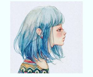 art, blue hair, and anime girl image