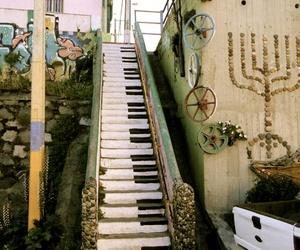 piano, stairs, and art image
