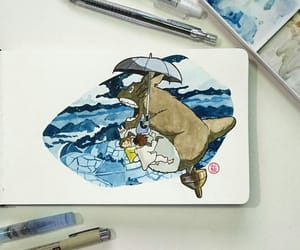 art, sketch, and totoro image