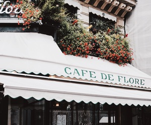 cafe, flowers, and paris image