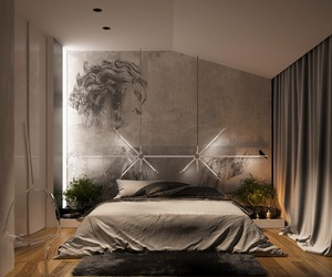 bedroom, light, and wood image