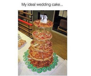 pizza, cake, and wedding image