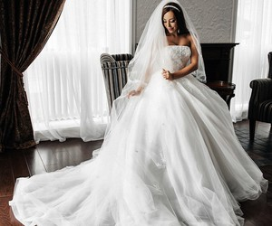 beauty, bride, and wedding dress image