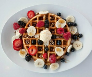 food, strawberry, and blueberries image