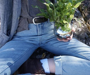 plants, jeans, and blue image