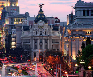 city, light, and madrid image