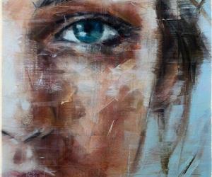art, drawing, and blue eye image