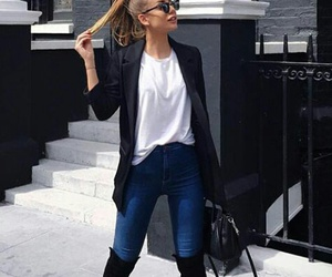 Blanc, blazer, and jeans image