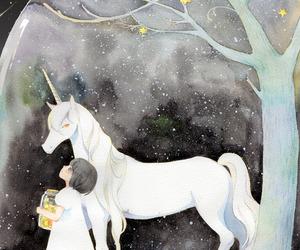 unicorn, illustration, and stars image