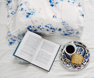 bed, blue, and books image