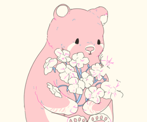 pink, bear, and flowers image
