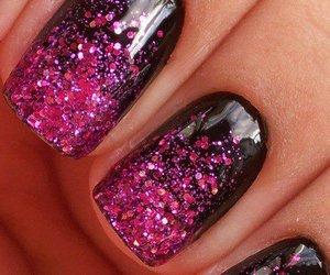 nails, pink, and black image