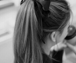 black and white, hairstyle, and girly image