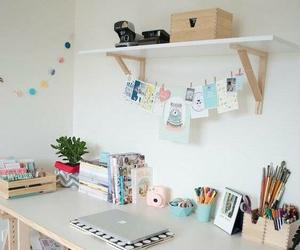 room, desk, and decoration image