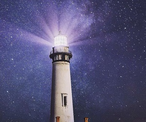 galaxy, lighthouse, and purple image