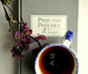 book, tea, and pride and prejudice image