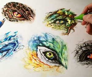 drawing, dragon, and eyes image