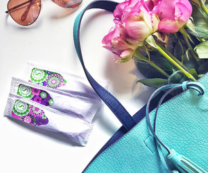 flowers, purse, and tampax image