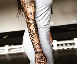 tattoo, wolf, and tiger image