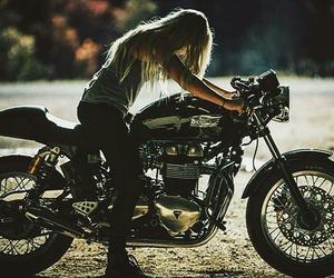 girl, motos, and motorbiker image