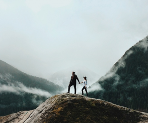mountains, couple, and adventure image