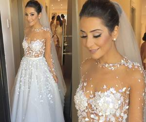 bride, beautiful, and dress image