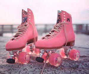 pink, skate, and roller skates image