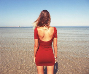 blonde, pretty, and red dress image