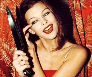 Milla Jovovich, knife, and 90s image