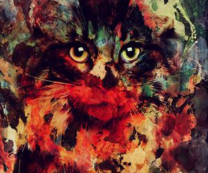 cat, art, and colors image