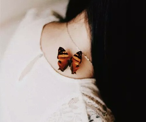 butterfly, girl, and vintage image