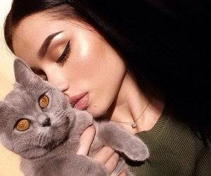 girl, cat, and makeup image