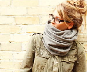 scarf, blonde, and hair image