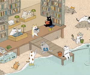 cats, drawing, and illustration image