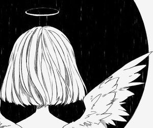 black and white, angel, and anime image