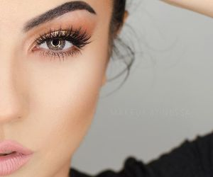 beauty, brunette, and eyebrows image