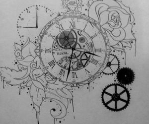 clock, illustration, and drawing image