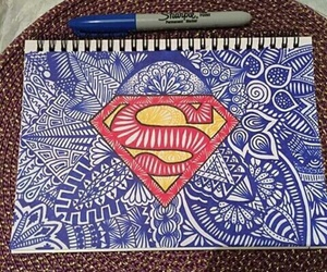 superman, art, and drawing image