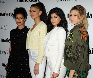model, kylie jenner, and hailey baldwin image