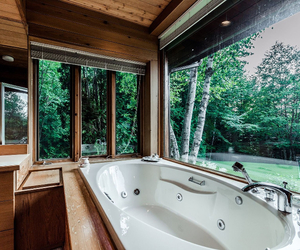 bathroom, forest, and home image