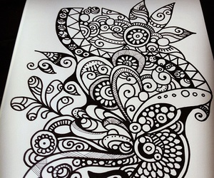 doodle, black and white, and draw image