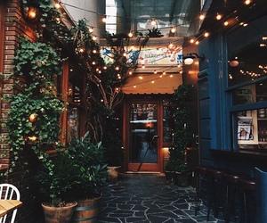 city, light, and restaurant image