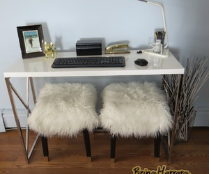 desk, fur, and glam image