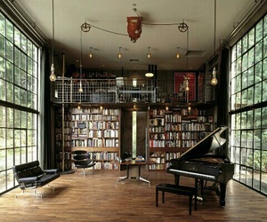 book, piano, and library image