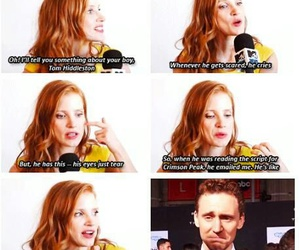 crying, tom hiddleston, and jessica chastain image