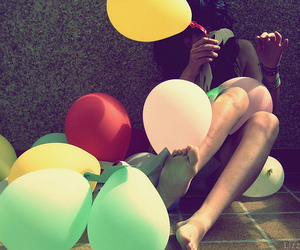 girl, ballon, and balloons image