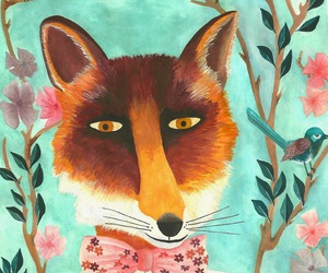 drawing, illustration, and fox image