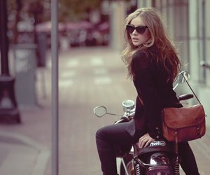 girl, bag, and motorcycle image