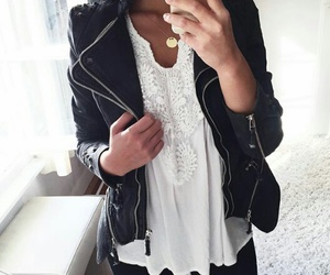 black, white, and fashion image