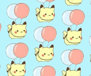 background, balloon, and pikachu image